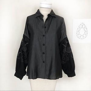 Zara Button Up Grey & Black Blouse W Embroidery